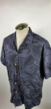Paradise Found Button Up Hawaiian Shirt Mens Large Black 100% Rayon Floral