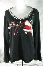 Berek Christmas pullover sweater black large Santa Clause snow tree jolly