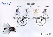 Faroes Faroe Islands 2018 FDC Flies 4v M/S Cover Fly Insects Stamps