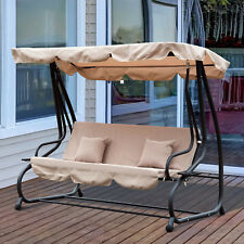 Outsunny Outdoor Swing Chair Garden Hammock Patio Convertible Canopy Bed 3 Seater, Steel - Beige