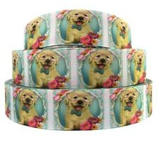 "BTY 1"" Yellow Lab Puppy Grosgrain Ribbon Hair Bows Dog Collars Lisa"