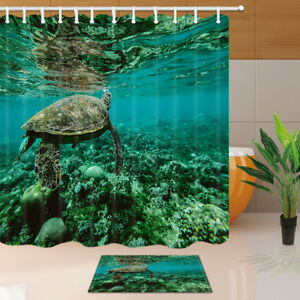 Swimming Turtle In Green Sea Water Fabric Shower Curtain Bathroom Set 12Hooks
