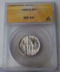 """1926-D Standing Liberty Quarter """"ANACS MS64"""" *Free S/H After 1st Item*"""