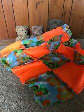 Handmade rag baby,lap,throw blanket,bright orange,fleece,frog,cozy,warm