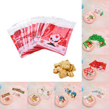 20pcs Christmas Bags Xmas Pattern Plastic Cellophane Cookies Candy Gift Bag Mini