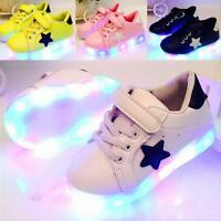 Fashion LED Kids Boys Girls Shoes Light Up Children Trainers Sport Sneakers HF