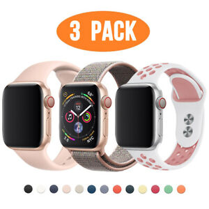 3 PACK Silicone Sport Band Nylon Strap for Apple Watch 6 5 4 3 iWatch SE 40/44mm