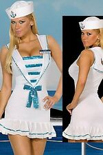 NEW Women's Sexy SAILOR Navy Strapless Dress & Hat Halloween Costume S/M