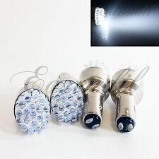 1157 4 Pc BAY15d 7528 White Round 19 LED Bulb #Pt1 Rear Front Turn Signal Brake