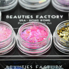 BF 12Pcs Shiny Ice Mylar Sheets UV Gel Acrylic Nail Art Decoration Jar #124