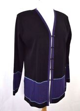 Exclusively Misook Jacket Cardigan Petite Small Black Purple Stripe Button Front