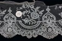 "Antique French Hand Made Lace Yardage~Bridal,Dolls~60""L  X 4""W~Flounce"