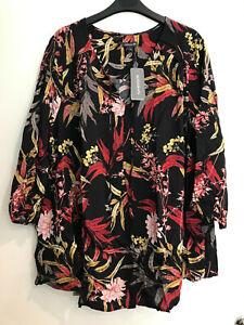 BNWT AUTOGRAPH Size 22 Black Floral Shirt Ladies Plus Size Blouse