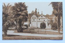 Old sepia postcard LOS ANGELES MISSION CHAPEL, FROM THE PLAZA, CALIFORNIA