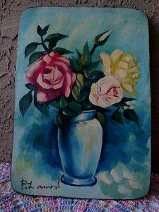 "Oil Painting Primitive Original on Wood Signed Folk Art 10"" x14"" Bouquet Roses"