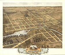 1869 Naperville DuPage County panoramic Illinois map Genealogy atlas poster 42