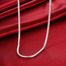 925 Sterling Silver Silver Filled Solid Snake Bone 4mm Chain Necklace N-A677