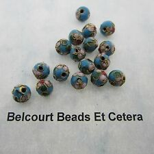 100 - 8mm Round Cloisonne Loose Beads - Beautiful Sky Blue Gold Trim white red