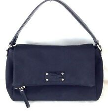 KATE SPADE New York Black Nylon Canvas Fold-Over Crossbody Hobo Handbag Bag