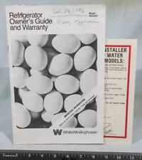 Vintage Westinghouse Refrigerator Manual Instructions g25