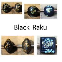 Black Raku - Handmade Glass Lampwork Beads SRA MTO - Choose Shape