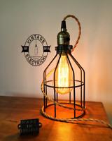 Caston ~ Black Cage Bedside Lamp   Black Fabric Cable   Bedroom Light   Vintage