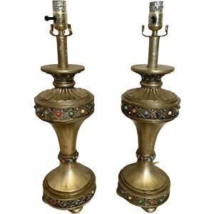 Turkish/Moroccan Style Embellished Gemstone Table Lamps Living Room Bedroom