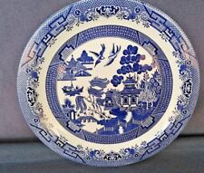 "VINTAGE CHURCHILL ENGLAND BLUE WILLOW LARGE ROUND PLATTER ~ 12 3/4"" Diameter"