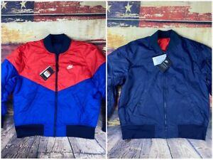 NWT Mens L Nike Sportswear Reversible Bomber Insulated Jacket Navy Windrunner