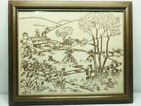 Vintage Crewel Finished Framed Complete Embroidery Handmade Barn Farm Fall
