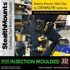 2x Stealth BELT CLIP battery mount holders for tool belt for DeWalt XR batteries
