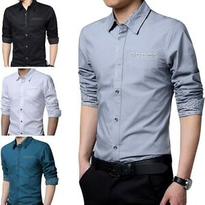Mens Long Sleeves Shirts Dress Business Work Camisas Social Slim Fit T6197