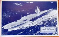 1960 Military Ship Postcard: USS Enterprise Atomic Attack Aircraft Carrier