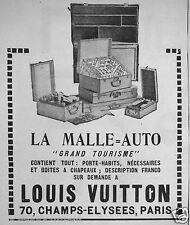 PUBLICITÉ 1923 LOUIS VUITTON LA MALLE AUTO TOURISME - 70 CHAMPS ÉLYSÉES PARIS