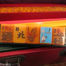Vtg. Resin Apple Juice, Catalin Mahjong Set, 160 Tiles, Mah Jongg Bakelite