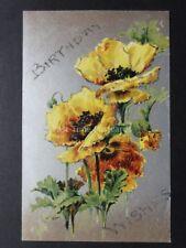 BIRTHDAY Poppies Postcard on Silvered Surface c1907 Postcard by B.B.London