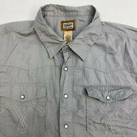 Schmidt Pearl Snap Up Shirt Men's 2XLT XXLT Short Sleeve Gray Casual 100% Cotton