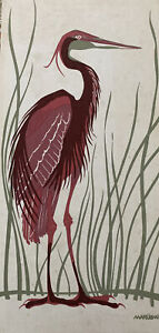 1970s Marushka Print Heron Crane Sea Grass Vintage Canvas Screenprint on Frame