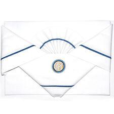 INTER lenzuolino da carrozzino in cotone bianco bordato con stemma ricamato