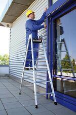 Günzburger Sprossenstehleiter 33016 Alu 2x8 Sprossen beidseitig begehbar