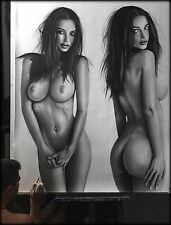 Emily Ratajkowski - portrait ritratto GIGANTE grafite e carboncino cm. 105 x 130