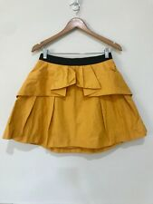 Cue Size 12 Pleated Zip Back Mustard A-Line Skirt Office City EUC