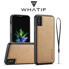 Fr iPhone XS XR 8/7 6 Slim Retro Leather Shockproof Slim W/Strap Back Case Cover