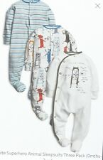 ♡ Next ♡ NEW 3 PACK☆ Baby Boy  ☆ SUPERHERO ☆ Sleepsuits Babygrows ☆ 3-6 Months ☆