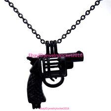 "-H11 Black 18"" Stainless Necklace Handgun Pistal Gun Bead Pearl Cage Locket"
