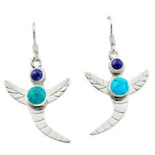 Blue Sleeping Beauty Turquoise 925 Silver Dragonfly Earrings D14921