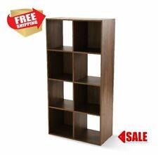 Storage Organizer Bookcase 8 Cube Home Office Display Bookshelf Shelves Walnut