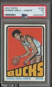 1972 Topps Basketball #100 Kareem Abdul-Jabbar Bucks HOF PSA 3 VG