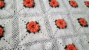 Handmade Afghan Peach & White Floral Fringed Throw Blanket Summer Cottage