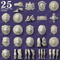 3d stl model cnc router artcam aspire 25 pcs lion collection